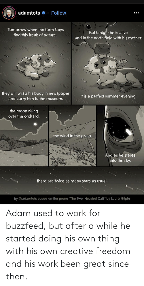 "poem: adamtots o - Follow  Tomorrow when the farm boys  find this freak of nature,  But tonight he is alive  and in the north field with his mother.  they will wrap his body in newspaper  and carry him to the museum.  It is a perfect summer evening:  the moon rising  over the orchard,  the wind in the grass.  And as he stares  into the sky,  there are twice as many stars as usual.  by @adamtots based on the poem ""The Two-Headed Calf"" by Laura Gilpin Adam used to work for buzzfeed, but after a while he started doing his own thing with his own creative freedom and his work been great since then."