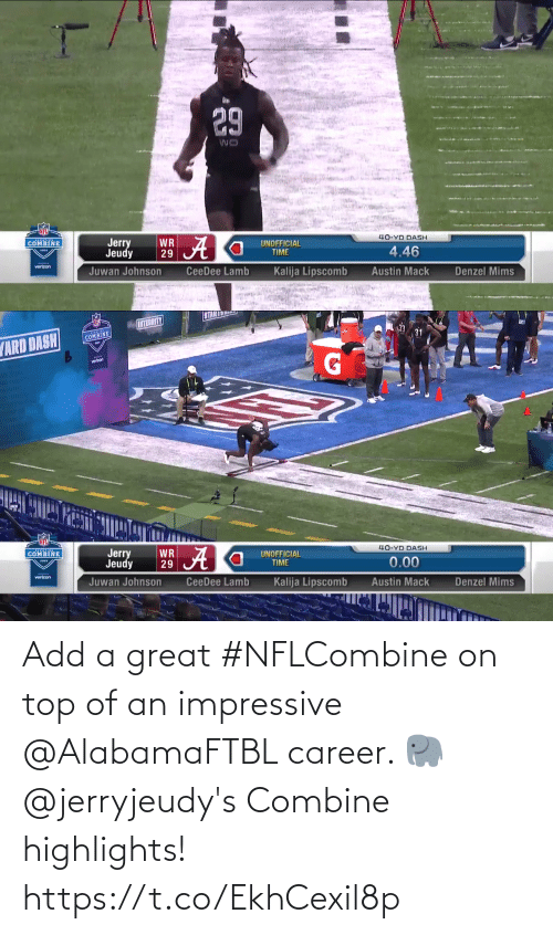 On Top: Add a great #NFLCombine on top of an impressive @AlabamaFTBL career. 🐘  @jerryjeudy's Combine highlights! https://t.co/EkhCexil8p