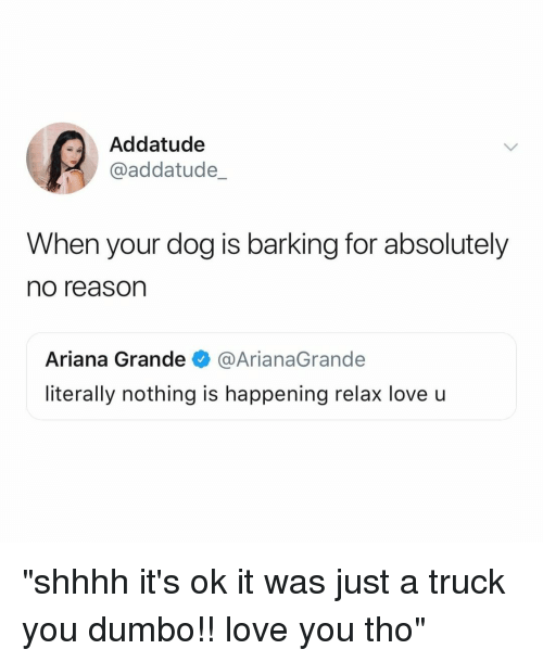"""Dumbo: Addatude  @addatude_  When your dog is barking for absolutely  no reason  Ariana Grande@ArianaGrande  literally nothing is happening relax love u """"shhhh it's ok it was just a truck you dumbo!! love you tho"""""""