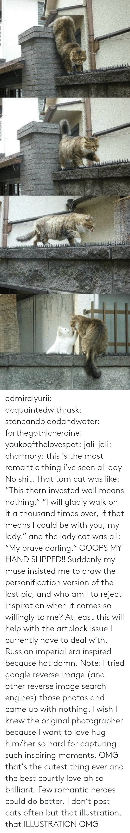"times: admiralyurii: acquaintedwithrask:  stoneandbloodandwater:  forthegothicheroine:  youkoofthelovespot:  jali-jali:  charmory:  this is the most romantic thing i've seen all day  No shit. That tom cat was like: ""This thorn invested wall means nothing."" ""I will gladly walk on it a thousand times over, if that means I could be with you, my lady."" and the lady cat was all: ""My brave darling."" OOOPS MY HAND SLIPPED!!  Suddenly my muse insisted me to draw the personification version of the last pic, and who am I to reject inspiration when it comes so willingly to me? At least this will help with the artblock issue I currently have to deal with. Russian imperial era inspired because hot damn. Note: I tried google reverse image (and other reverse image search engines) those photos and came up with nothing. I wish I knew the original photographer because I want to love hug him/her so hard for capturing such inspiring moments.  OMG that's the cutest thing ever and the best courtly love ah so brilliant.  Few romantic heroes could do better.  I don't post cats often but that illustration.  that ILLUSTRATION    OMG"