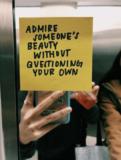 Own, Beauty, and Admire: ADMIRE  SOMEONE'S  BÉAUTY  WITHOUT  QVEITIONING  YDUR OWN