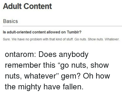 """Basics: Adult Content  Basics  Is adult-oriented content allowed on Tumblr?  Sure. We have no problem with that kind of stuff. Go nuts. Show nuts. Whatever. ontarom:  Does anybody remember this """"go nuts, show nuts, whatever"""" gem? Oh how the mighty have fallen."""