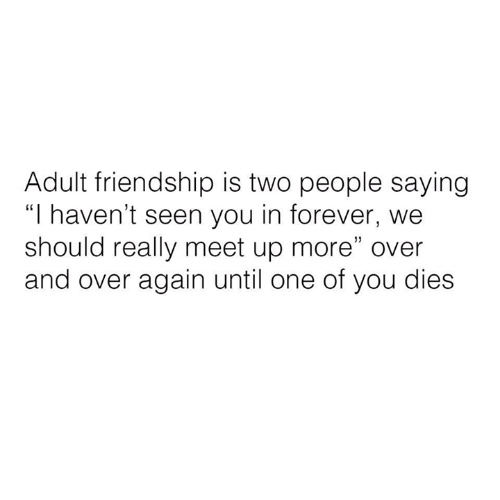 """Relationships, Forever, and Friendship: Adult friendship is two people saying  """"I haven't seen you in forever, we  should really meet up more"""" over  and over again until one of you dies"""
