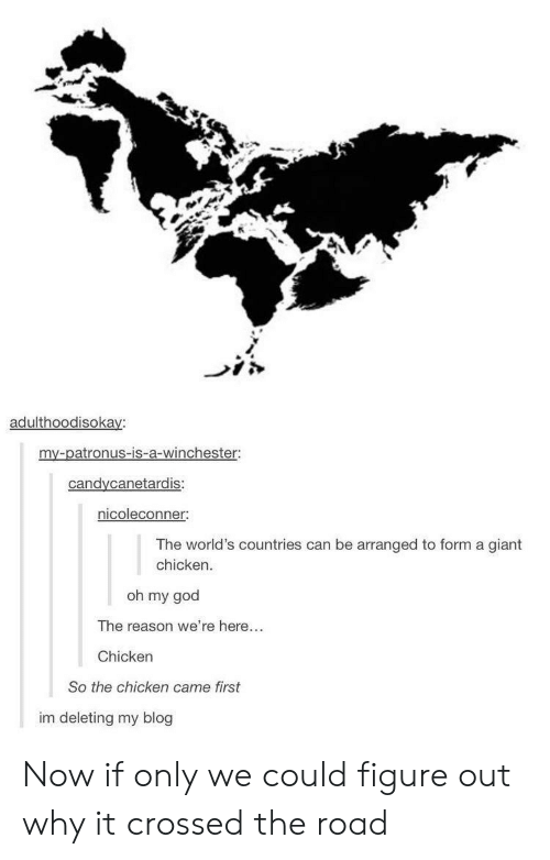winchester: adulthoodisokay:  my-patronus-is-a-winchester  candycanetardis  nicoleconner:  The world's countries can be arranged to form a giant  chicken.  oh my god  The reason we're here...  Chicken  So the chicken came first  im deleting my blog Now if only we could figure out why it crossed the road