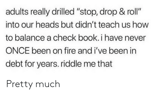 "Fire, Book, and How To: adults really drilled ""stop, drop & roll""  into our heads but didn't teach us how  to balance a check book.i have never  ONCE been on fire and i've been in  debt for years. riddle me that Pretty much"
