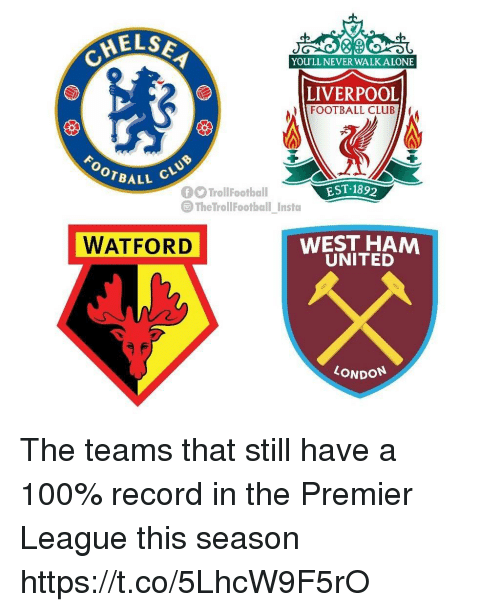 Being Alone, Anaconda, and Club: AELSE  YOU'LL NEVER WALK ALONE  LIVERPOOL  FOOTBALL CLUB  OOTBALL  EST 189  The TrollFootball Insta  WATFORD  WEST HAM  UNITED  LONDON The teams that still have a 100% record in the Premier League this season https://t.co/5LhcW9F5rO