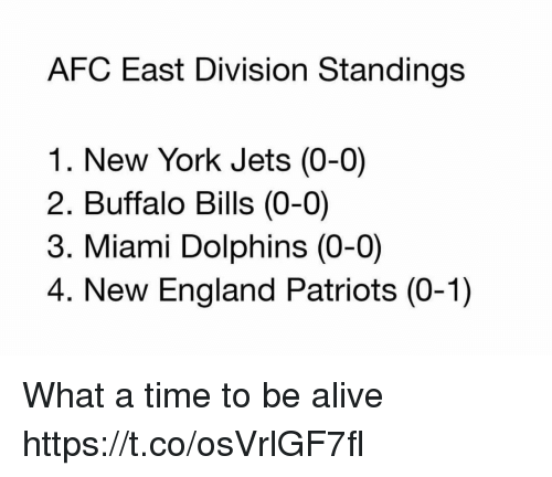 coeds: AFC East Division Standings  1. New York Jets (0-0)  2. Buffalo Bills (0-0)  3. Miami Dolphins (0-0)  4. New England Patriots (0-1) What a time to be alive https://t.co/osVrlGF7fl