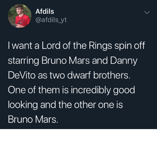 rings: Afdils  @afdils_yt  I want a Lord of the Rings spin off  starring Bruno Mars and Danny  DeVito as two dwarf brothers.  One of them is incredibly good  looking and the other one is  Bruno Mars. I would watch that by Wikabeaux MORE MEMES