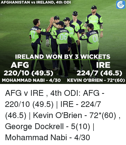odie: AFGHANISTAN vs IRELAND, 4th ODI  IRELAND WON BY 3 WICKETS  IRE  AFG  220/10 (49.5)  224/7 (46.5)  MOHAMMAD NABI 4/30  KEVIN O'BRIEN 72 (60) AFG v IRE , 4th ODI: AFG - 220/10 (49.5)    IRE - 224/7 (46.5)   Kevin O'Brien - 72*(60) , George Dockrell - 5(10)   Mohammad Nabi - 4/30