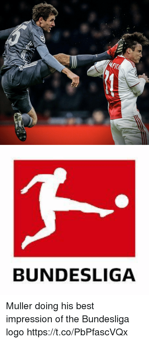 Soccer, Best, and Logo: AFICO   BUNDESLIGA Muller doing his best impression of the Bundesliga logo https://t.co/PbPfascVQx