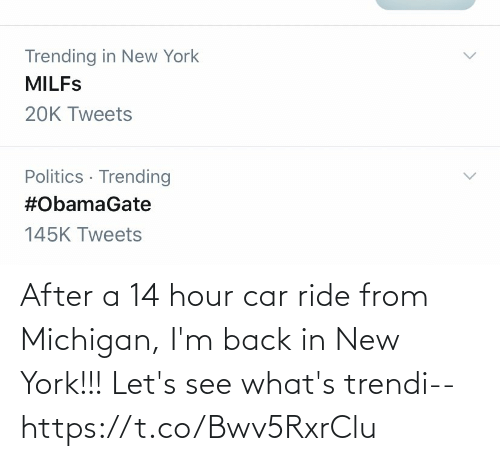 let's: After a 14 hour car ride from Michigan, I'm back in New York!!! Let's see what's trendi-- https://t.co/Bwv5RxrClu
