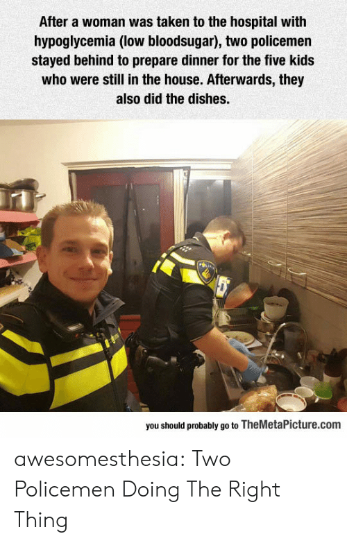 Taken, Tumblr, and Blog: After a woman was taken to the hospital with  hypoglycemia (low bloodsugar), two policemen  stayed behind to prepare dinner for the five kids  who were still in the house. Afterwards, they  also did the dishes.  you should probably go to TheMetaPicture.com awesomesthesia:  Two Policemen Doing The Right Thing