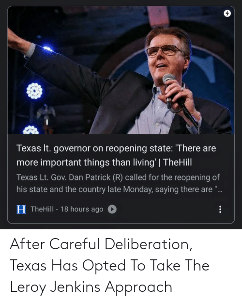 Texas: After Careful Deliberation, Texas Has Opted To Take The Leroy Jenkins Approach