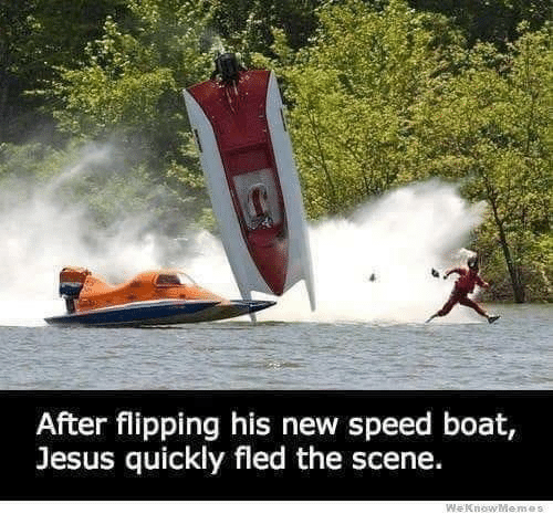 Flipping: After flipping his new speed boat  Jesus quickly fled the scene.