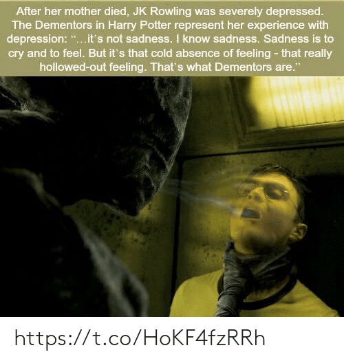 """Harry Potter, Memes, and Depression: After her mother died, JK Rowling was severely depressed.  The Dementors in Harry Potter represent her experience with  depression: """".it's not sadness. I know sadness. Sadness is to  cry and to feel. But it's that cold absence of feeling- that really  hollowed-out feeling. That's what Dementors are."""" https://t.co/HoKF4fzRRh"""