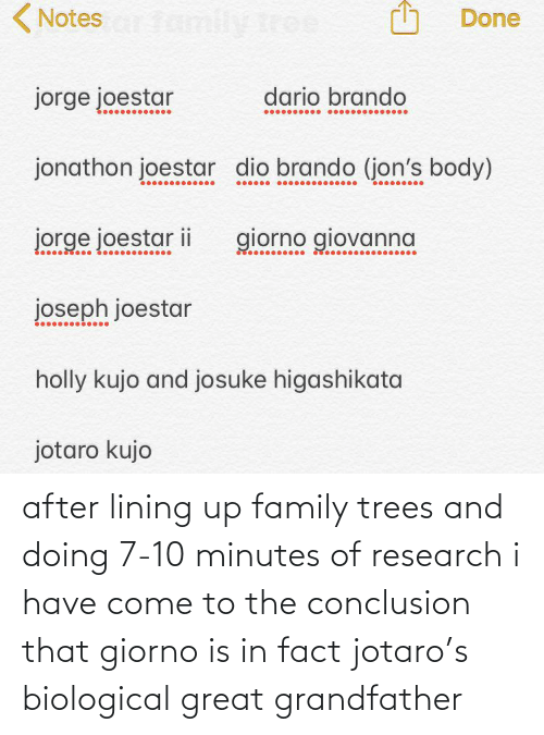 Biological: after lining up family trees and doing 7-10 minutes of research i have come to the conclusion that giorno is in fact jotaro's biological great grandfather