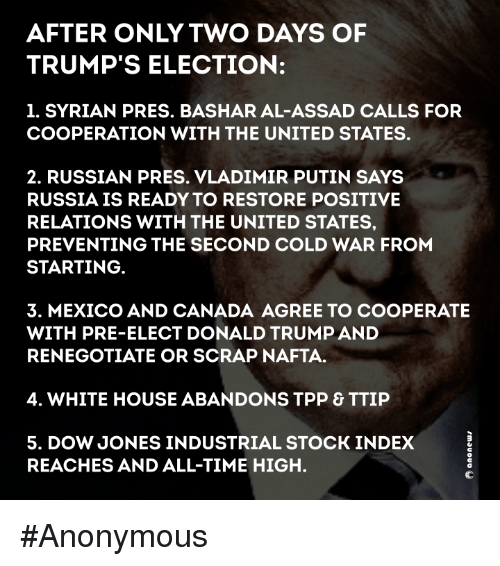 Memes, Vladimir Putin, and White House: AFTER ONLY TWO DAYS OF  TRUMP'S ELECTION:  1. SYRIAN PRES. BASHAR AL-ASSAD CALLS FOR  COOPERATION WITH THE UNITED STATES.  2. RUSSIAN PRES. VLADIMIR PUTIN SAYS  RUSSIA IS READY TO RESTORE POSITIVE  RELATIONS WITH THE UNITED STATES,  PREVENTING THE SECOND COLD WAR FROM  STARTING  3. MEXICO AND CANADA AGREE TO COOPERATE  WITH PRE-ELECT DONALD TRUMPAND  RENEGOTIATE OR SCRAP NAFTA.  4. WHITE HOUSE ABANDONS TPP & TTIP  5. DOW JONES INDUSTRIAL STOCK INDEX  REACHES AND ALL-TIME HIGH. #Anonymous