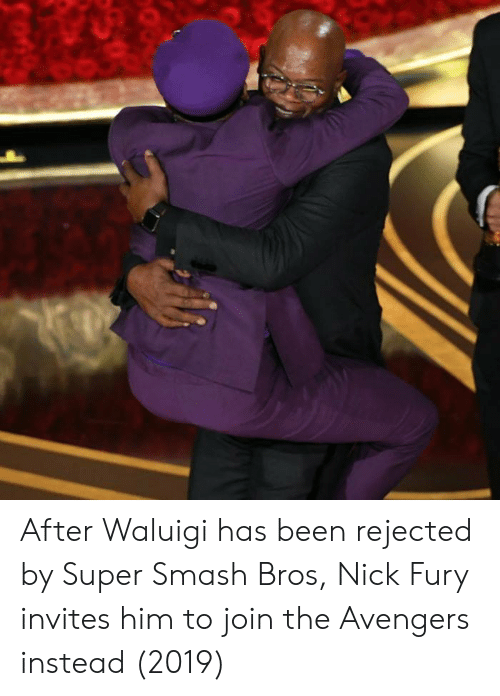 super smash bros: After Waluigi has been rejected by Super Smash Bros, Nick Fury invites him to join the Avengers instead (2019)