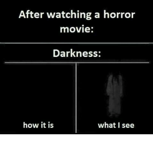 Memes, Movie, and 🤖: After watching a horror  movie:  Darkness:  how it is  what I see