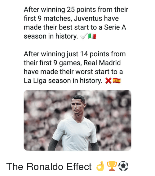 serie a: After winning 25 points from their  first 9 matches, Juventus have  made their best start to a Serie A  season in history.  After winning just 14 points from  their first 9 games, Real Madrid  have made their worst start to a  La Liga season in history. The Ronaldo Effect 👌🏆⚽️