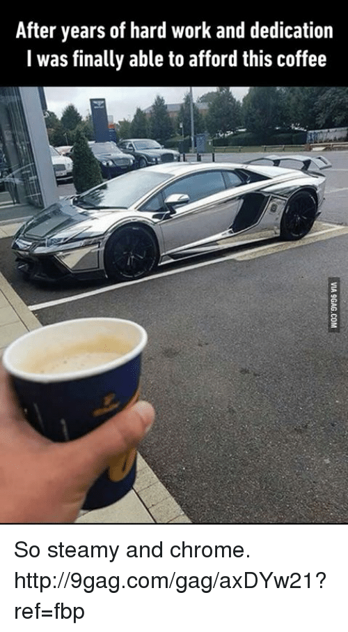 hard work and dedication: After years of hard work and dedication  I was finally able to afford this coffee So steamy and chrome. http://9gag.com/gag/axDYw21?ref=fbp