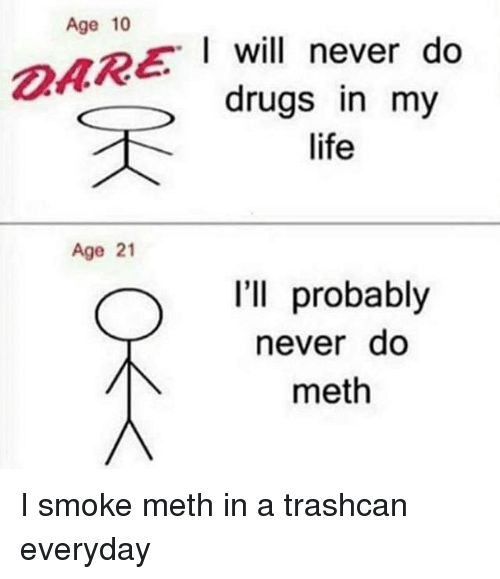 Mething: Age 10  AREI will never do  drugs in my  life  Age 21  I'll probably  neverdo  meth I smoke meth in a trashcan everyday
