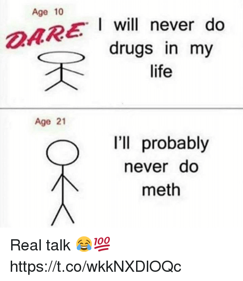 Mething: Age 10  I will never do  drugs in my  life  Age 21  I'll probably  neverdo  meth Real talk 😂💯 https://t.co/wkkNXDlOQc