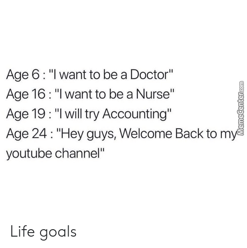 """Welcome Back: Age 6: """"l want to be a Doctor""""  Age 16: """"I want to be a Nurse""""  Age 19: """"lwill try Accounting""""  Age 24: """"Hey guys, Welcome Back to m  youtube channel"""" Life goals"""