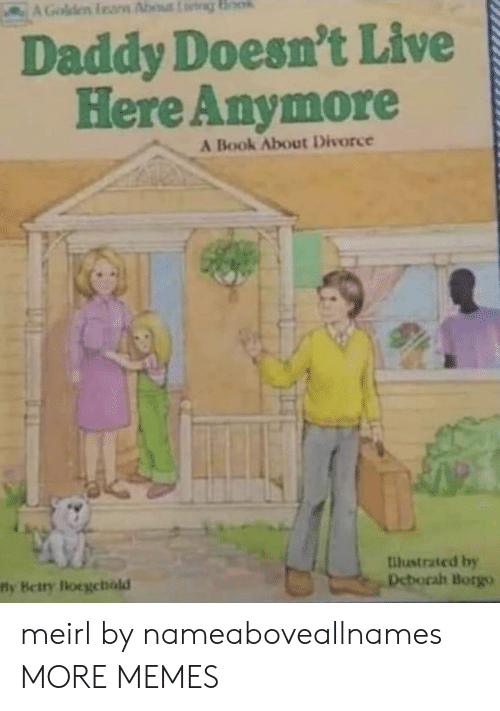 Divorce: AGolden feam About g Book  Daddy Doesn't Live  Here Anymore  A Book About Divorce  llustrated by  Deborah Borgo  fly Betry locgehald meirl by nameaboveallnames MORE MEMES
