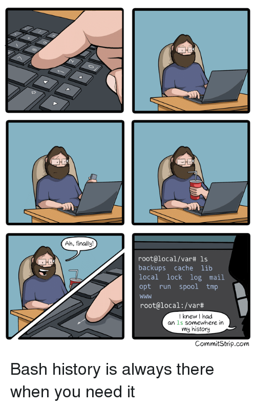 Cache: Ah, finally!  root@local/var# ls  backups cache lib  local lock log mail  opt run spool tmp  Www  root@local : /var#  Iknew I had  an ls somewhere in  my history  CommitStrip.com Bash history is always there when you need it