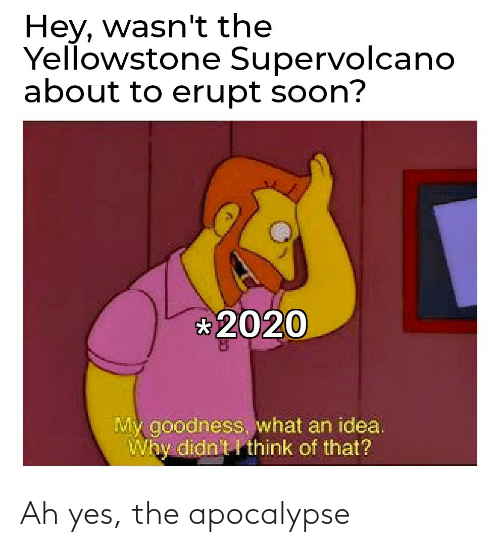 yes: Ah yes, the apocalypse