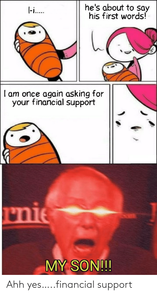 Financial: Ahh yes…..financial support