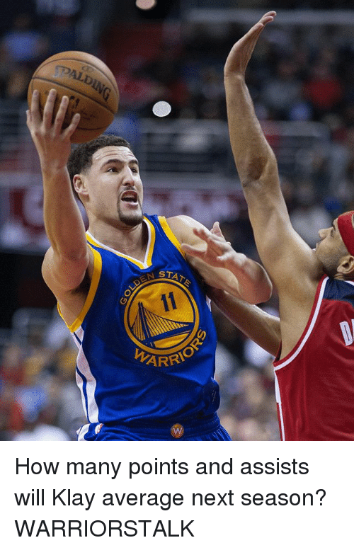 Basketball, Golden State Warriors, and Sports: AIDING  STAT  DEN S  ARR How many points and assists will Klay average next season? WARRIORSTALK