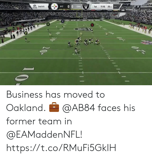 Memes, Business, and 🤖: AIDLRS  EA  11:10 25  3rd & 5  OAK  PIT  1st  ARCADE  40  20 Business has moved to Oakland. 💼  @AB84 faces his former team in @EAMaddenNFL! https://t.co/RMuFi5GkIH