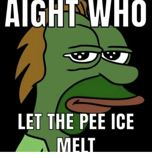 Ice, Who, and Ice Melt: AIGHT WHO  LET THE PEE ICE  MELT