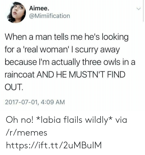 A Real Woman: Aimee  @Mimiification  When a man tells me he's looking  for a 'real woman' I scurry away  because I'm actually three owls in a  raincoat AND HE MUSTN'T FIND  OUT  2017-07-01, 4:09 AM Oh no! *labia flails wildly* via /r/memes https://ift.tt/2uMBuIM