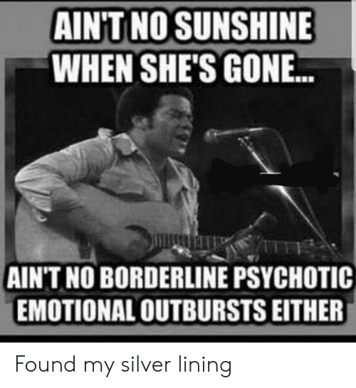 Silver, Sunshine, and Gon: AINT NO SUNSHINE  WHEN SHE'S GON..  AIN'T NO BORDERLINE PSYCHOTIC  EMOTIONAL OUTBURSTS EITHER Found my silver lining