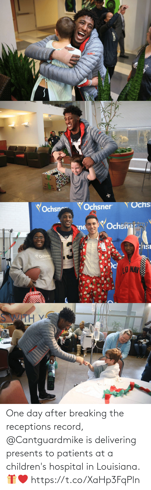 Children's Hospital: AINTS   TRIS! 1P  FRLE CA T  LENE LA   Yochsn  YOchsner  Ochs  Ochsre  sne.  chsi  YOchsner  Hospai For Childwan  LO NAV   SWITH V One day after breaking the receptions record, @Cantguardmike is delivering presents to patients at a children's hospital in Louisiana. 🎁❤️ https://t.co/XaHp3FqPln