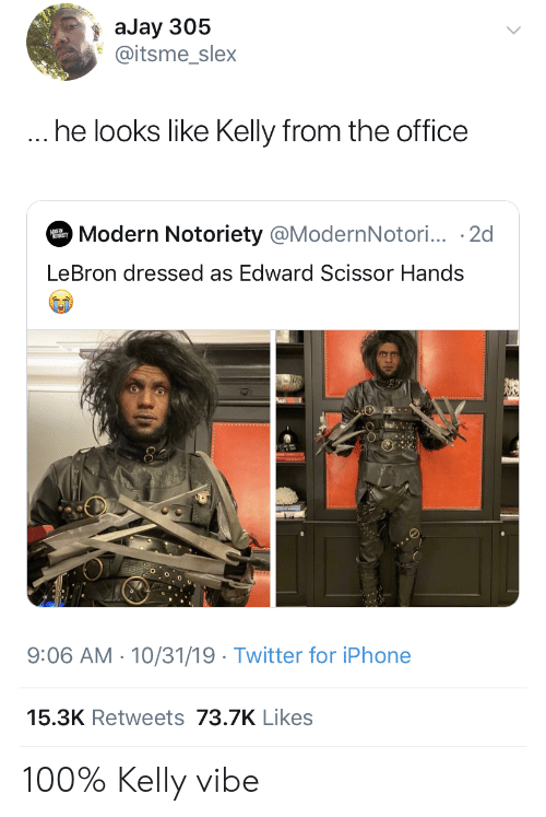 Kelly: aJay 305  @itsme_slex  ... he looks like Kelly from the office  Modern Notoriety @ModernNotori... 2d  MODER  LeBron dressed as Edward Scissor Hands  9:06 AM 10/31/19 Twitter for iPhone  15.3K Retweets 73.7K Likes 100% Kelly vibe
