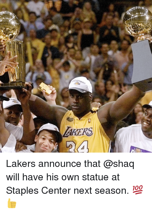Staples Center: AKERS  2a Lakers announce that @shaq will have his own statue at Staples Center next season. 💯👍