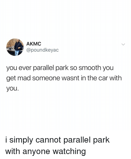 Smooth, Relatable, and Mad: AKMC  @poundkeyac  you ever parallel park so smooth you  get mad someone wasnt in the car with  you i simply cannot parallel park with anyone watching