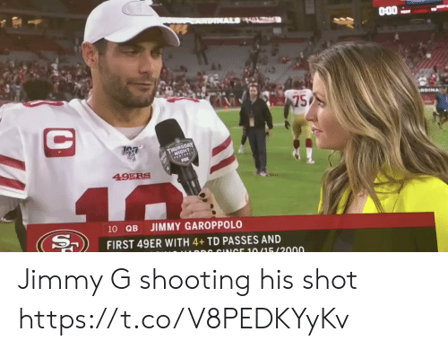 San Francisco 49ers, Football, and Nfl: AL HL  75  C  GEOAY  FOTEALE  49ERS  40  10 QB  JIMMY GAROPPOLO  FIRST 49ER WITH 4+TD PASSES AND  DR CINICE 10/15/2000 Jimmy G shooting his shot https://t.co/V8PEDKYyKv