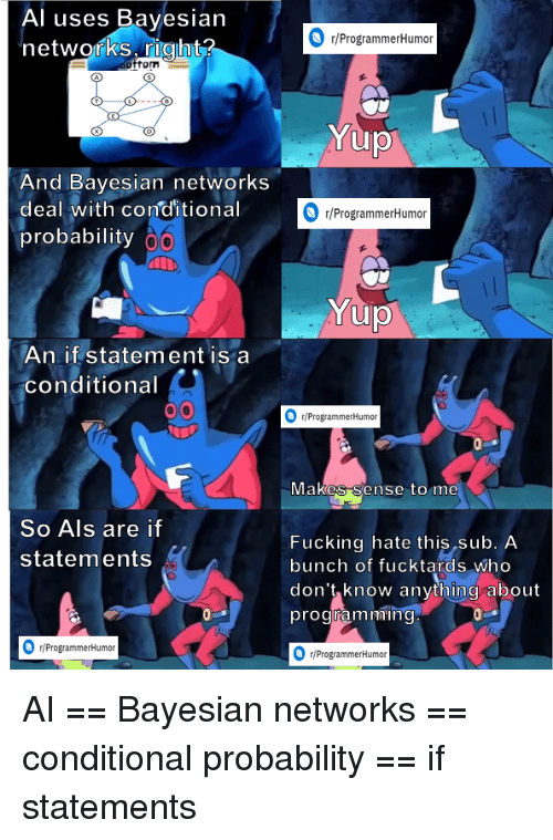 als: Al uses Bayesian  networks right?  r/ProgrammerHumoir  fom  And Bayesian networks  deal with conditional  probability  r/ProgrammerHumor  An if statement is a  conditional  /ProgrammerHumor  vlakes Sense to me  So Als are if  statements  Fucking hate this sub. A  bunch of fucktards who  don't know anything about  programmin  r/ProgrammerHumor  ProgrammerHumon AI == Bayesian networks == conditional probability == if statements