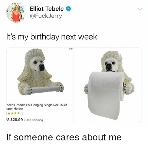 Fuckjerry: Alda', ' Elliot Tebele  @FuckJerry  It's my birthday next week  1 of  eckos Poodle Pal Hanging Single Roll Toilet  aper Holder  IS $29.99 +Free Shipping If someone cares about me