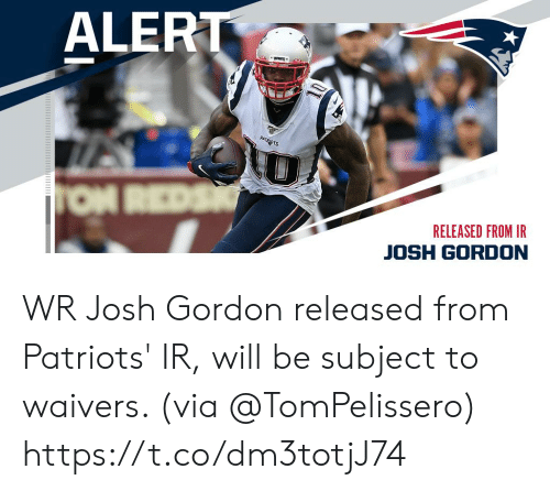 Josh: ALERT  PATRADTS  TON REDS  RELEASED FROM IR  JOSH GORDON WR Josh Gordon released from Patriots' IR, will be subject to waivers. (via @TomPelissero) https://t.co/dm3totjJ74