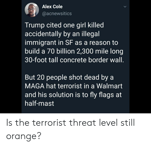 Maga: Alex Cole  @acnewsitics  Trump cited one girl killed  accidentally by an illegal  immigrant in SF as a reason to  build a 70 billion 2,300 mile long|  30-foot tall concrete border wall.  But 20 people shot dead by a  MAGA hat terrorist in a Walmart  and his solution is to fly flags at  half-mast Is the terrorist threat level still orange?