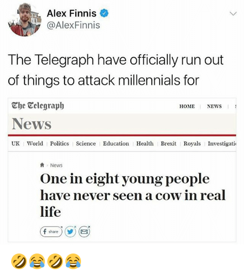 cowed: Alex Finnis  @AlexFinnis  The Telegraph have officially run out  of things to attack millennials for  Che Celegraph  News  UK World Politics Science Education Health Brexit Royals Investigatio  HOME NEWS  News  One in eight young people  have never seen a cow in real  life  fshare ) (y) ( 🤣😂🤣😂