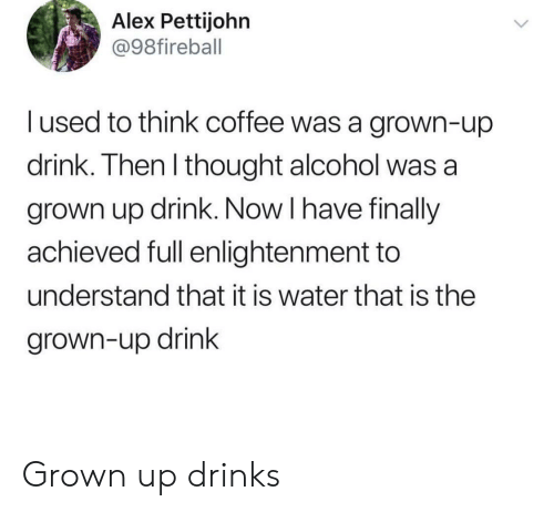 Alcohol, Coffee, and Water: Alex Pettijohn  @98fireball  I used to think coffee was a grown-up  drink. Then l thought alcohol was a  grown up drink. Now I have finally  achieved full enlightenment to  understand that it is water that is the  grown-up drink Grown up drinks