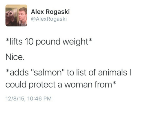 """list of animals: Alex Rogaski  @AlexRogaski  lifts 10 pound weight*  Nice.  *adds """"salmon"""" to list of animals l  could protect a woman from*  12/8/15, 10:46 PM"""