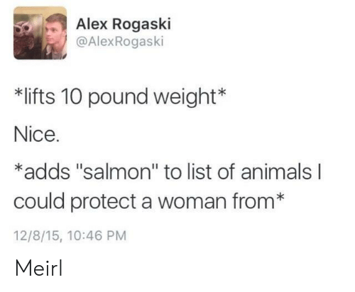 """list of animals: Alex Rogaski  @AlexRogaski  *lifts 10 pound weight  Nice.  *adds """"salmon"""" to list of animals l  could protect a woman from*  12/8/15, 10:46 PM Meirl"""